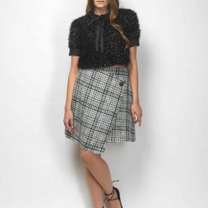Fringed lurex cropped top with chiffon details