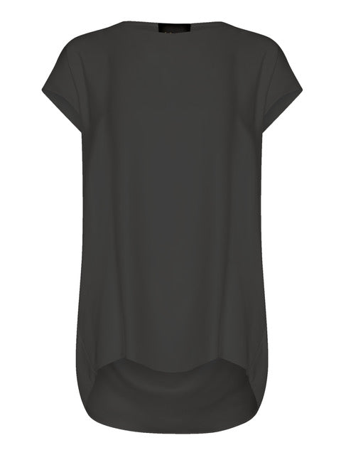 Washed Black Relaxed Silk Top