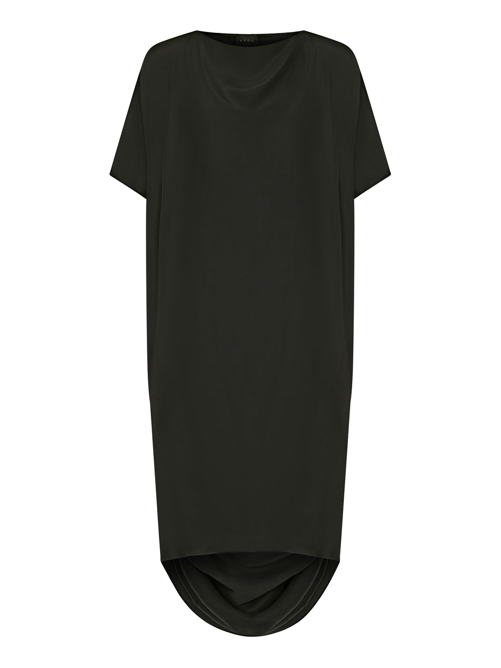 Black Hand-Draped Silk Dress