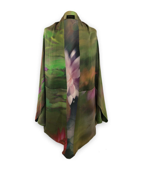 Watercolour Print Silk Shawl