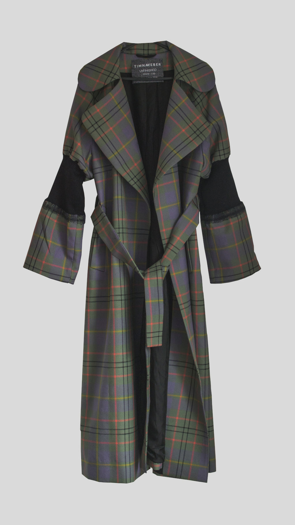 Plaid Wool Coat with Knitted Details