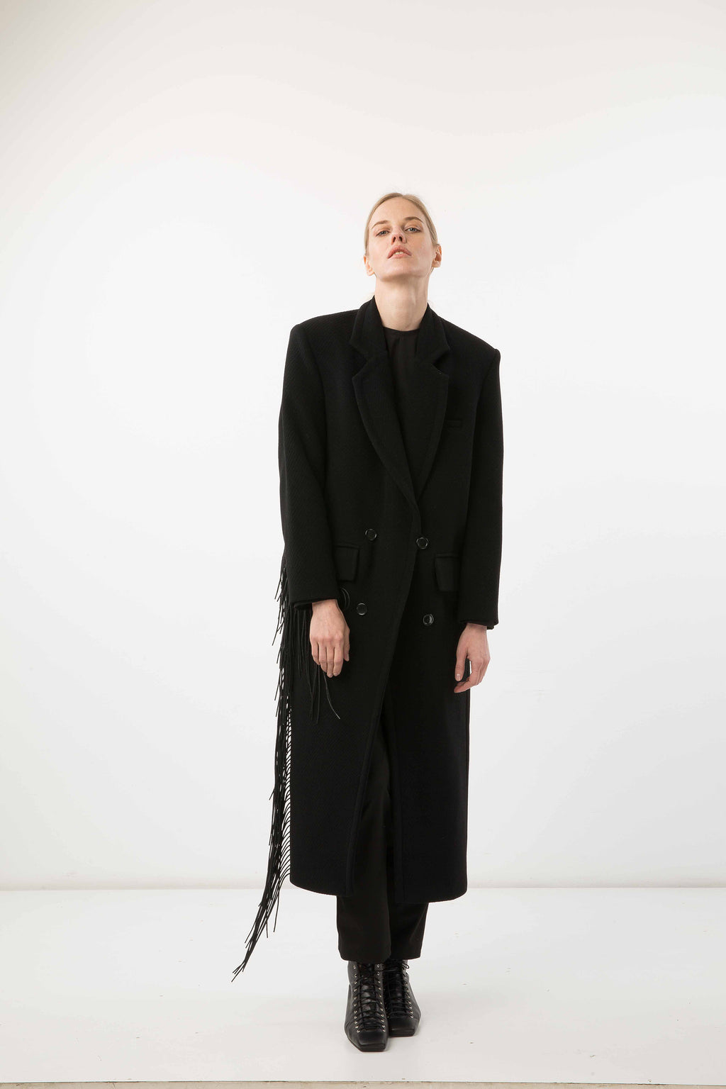 Black Coat with Side Detail