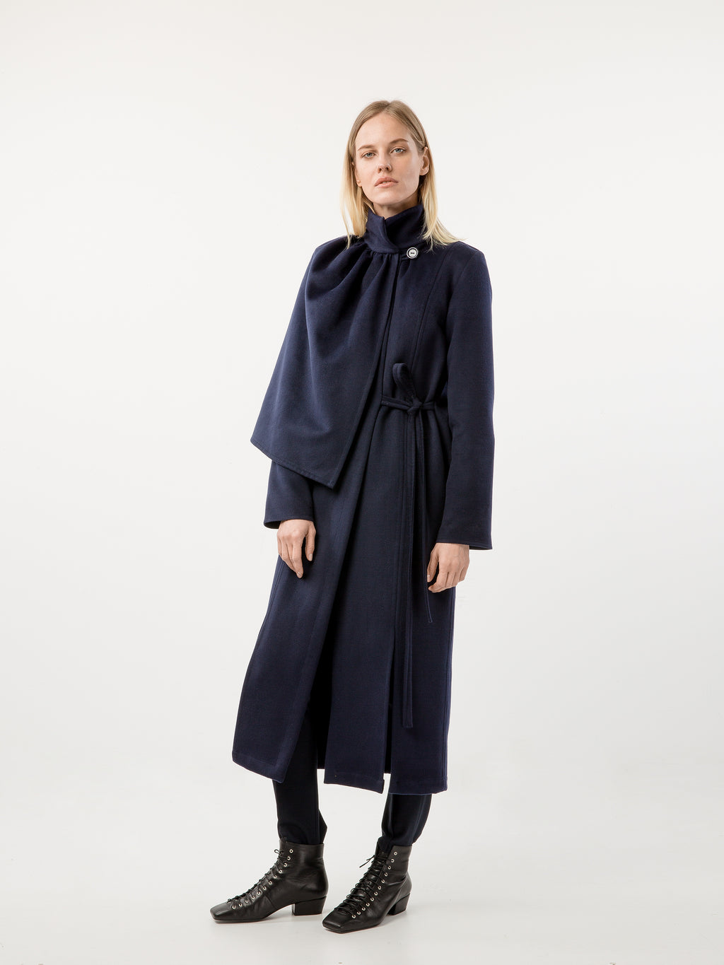 Black half cape detail coat