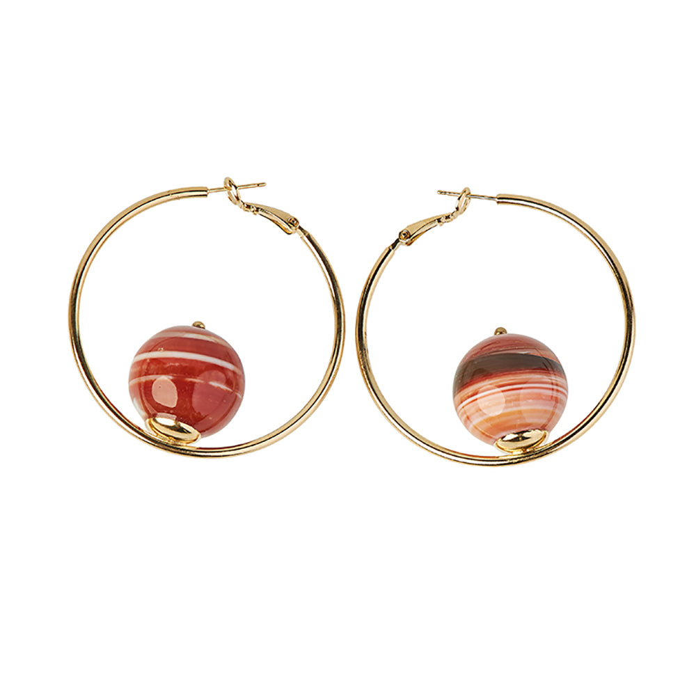 Sonia Hoop Red Earrings