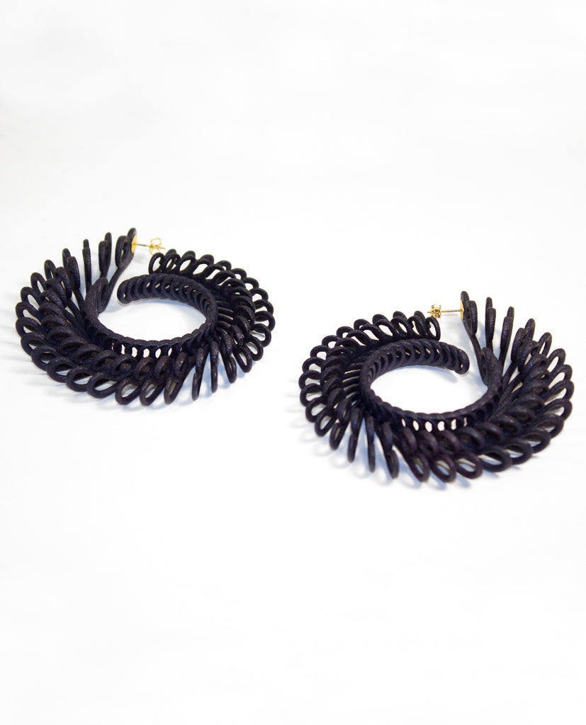 Circle Feathers Earrings Large