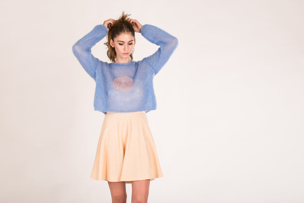 Sweater Macaron Moments Skyblue with Old rose dot