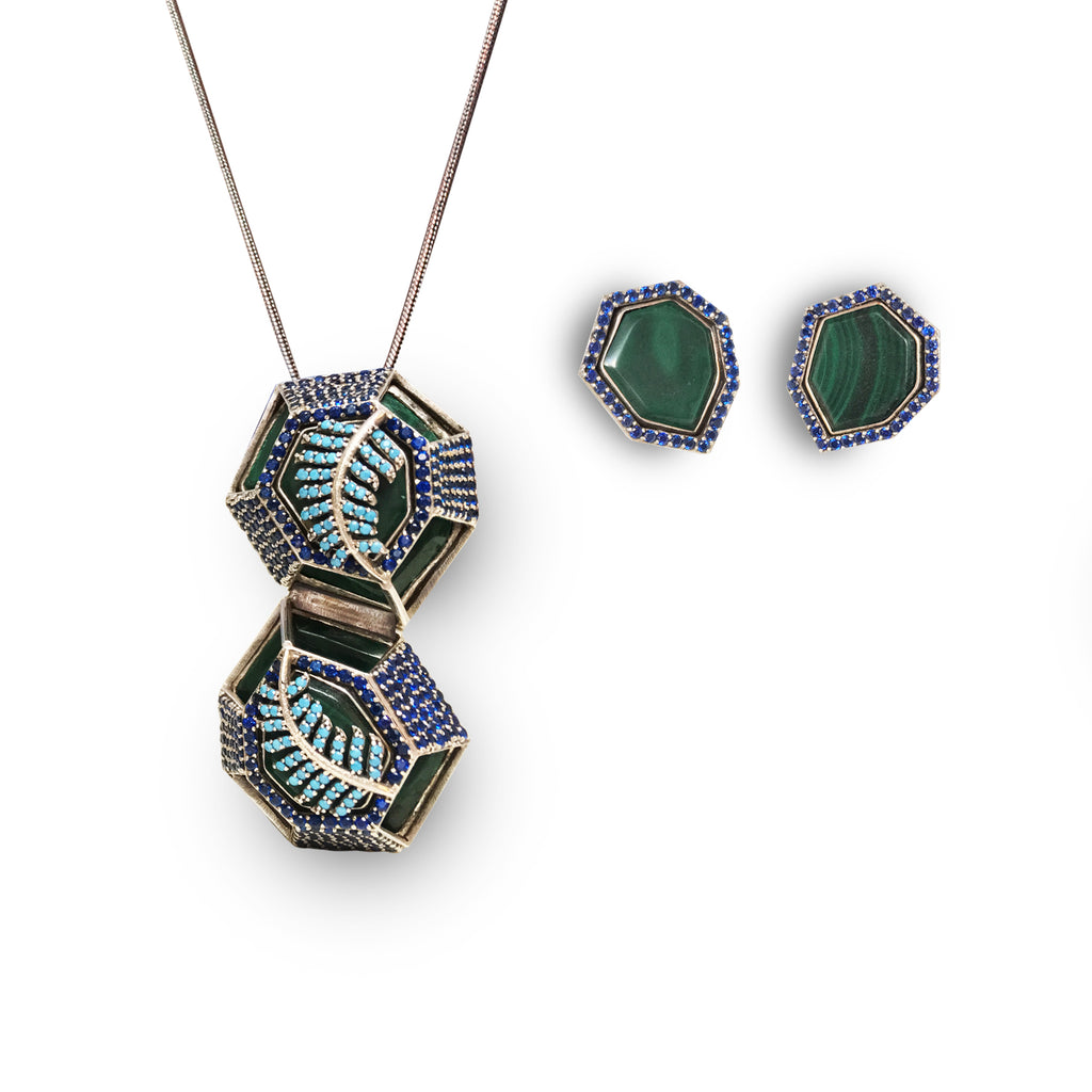 4 piece transformation set: Malachite with Sapphire and Turquoise