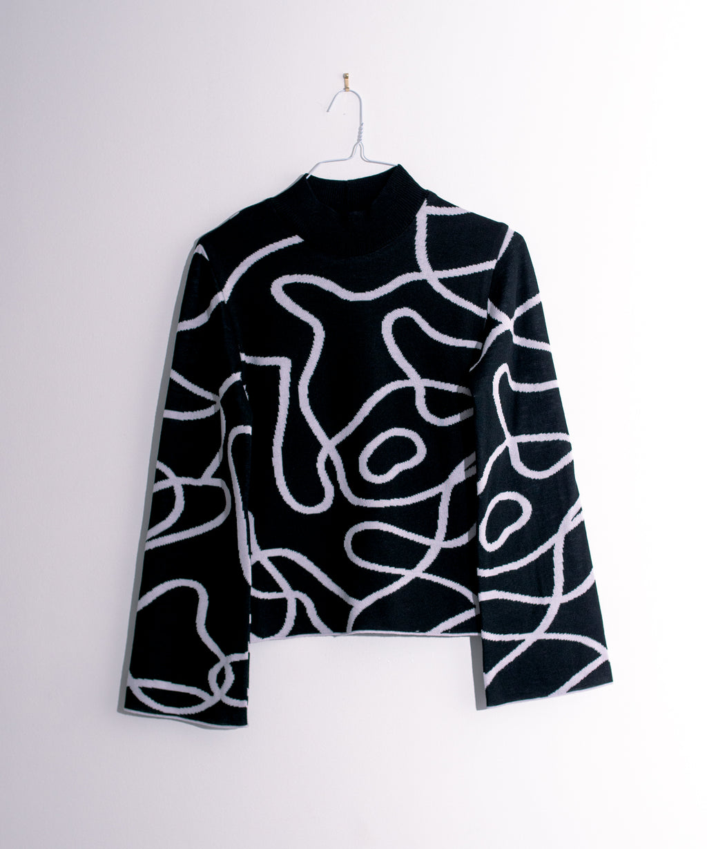 Reversible Jacquard Knit Jumper Black/White