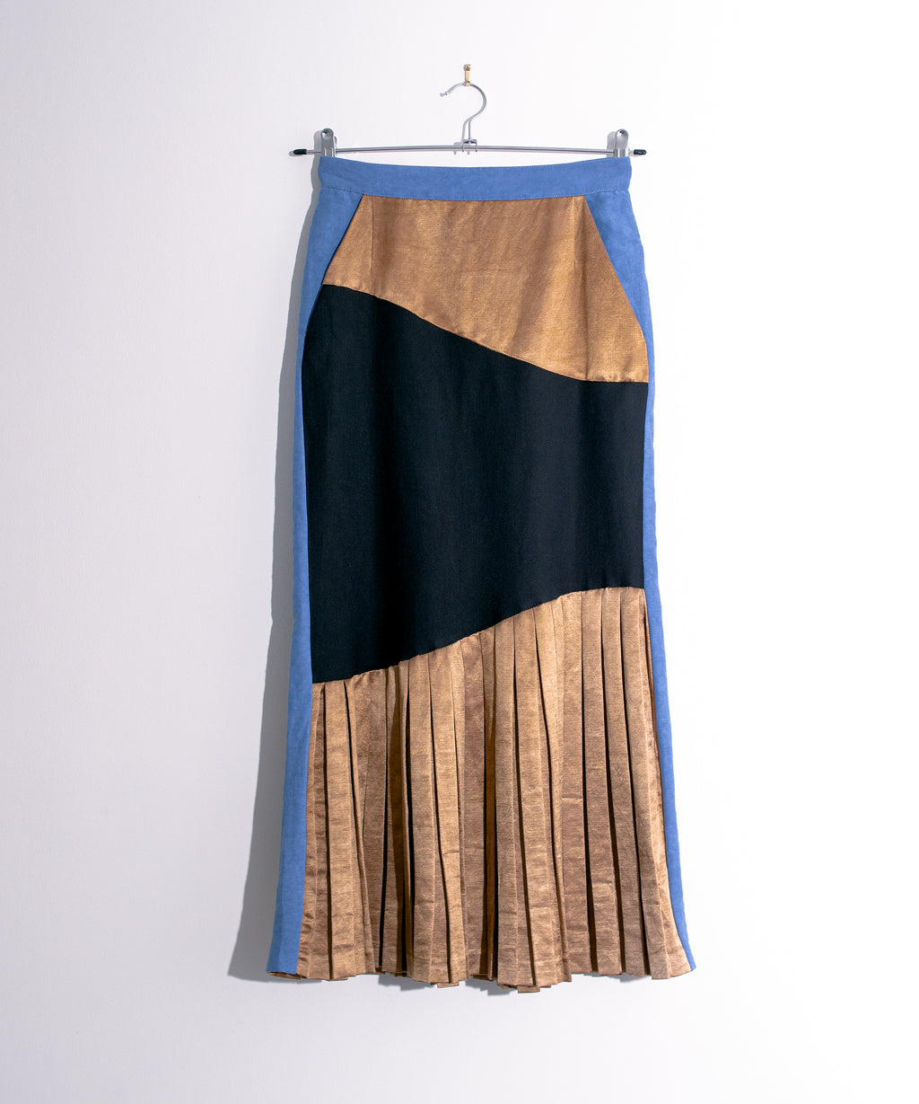 Pleated Silk Skirt With Side Pockets