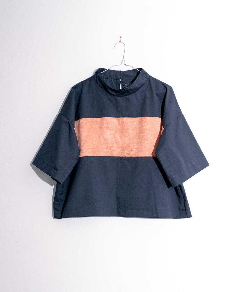 Short Sleeve Top With Silk Panel