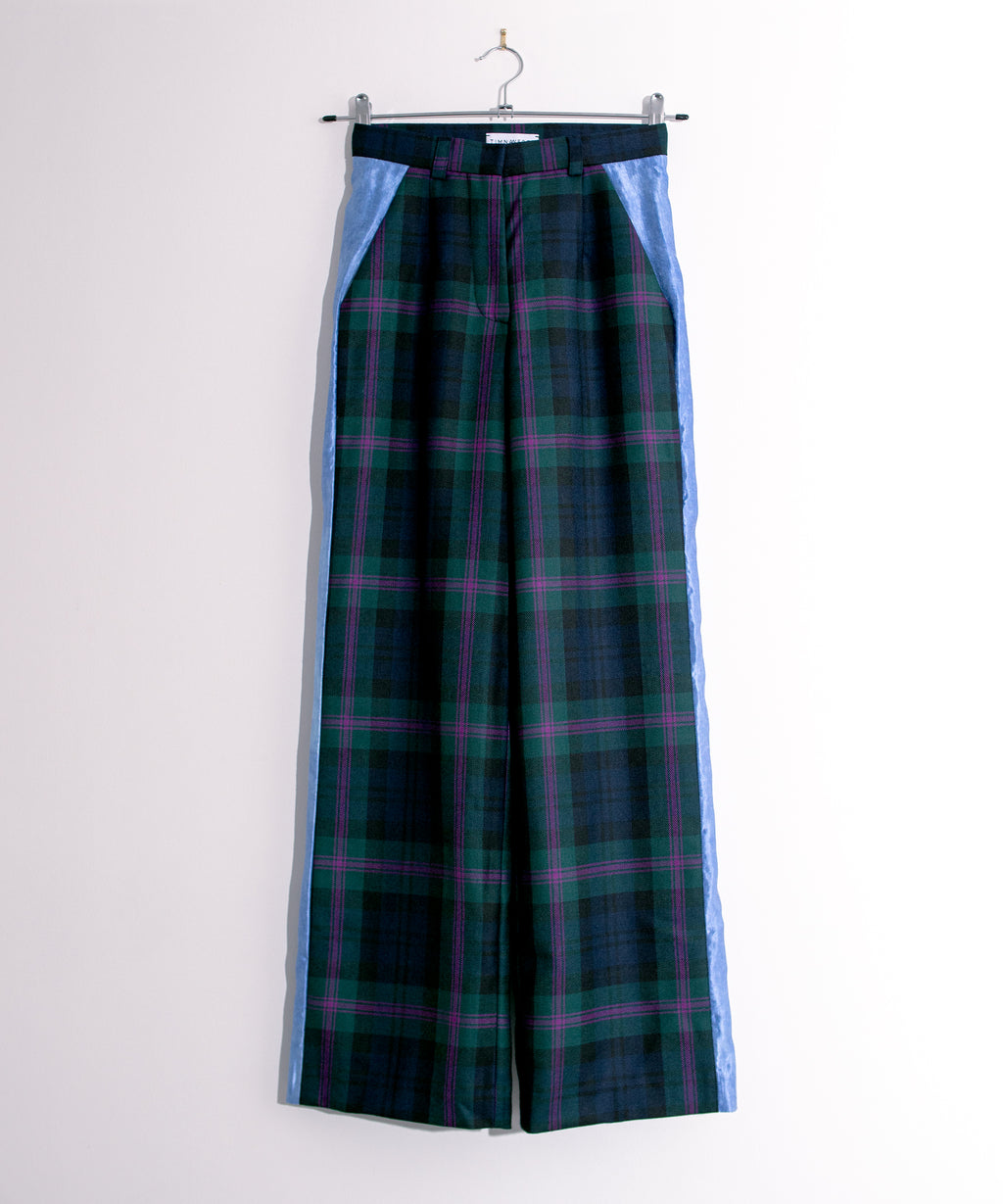Plaid Trousers with Contrasting Side Panel