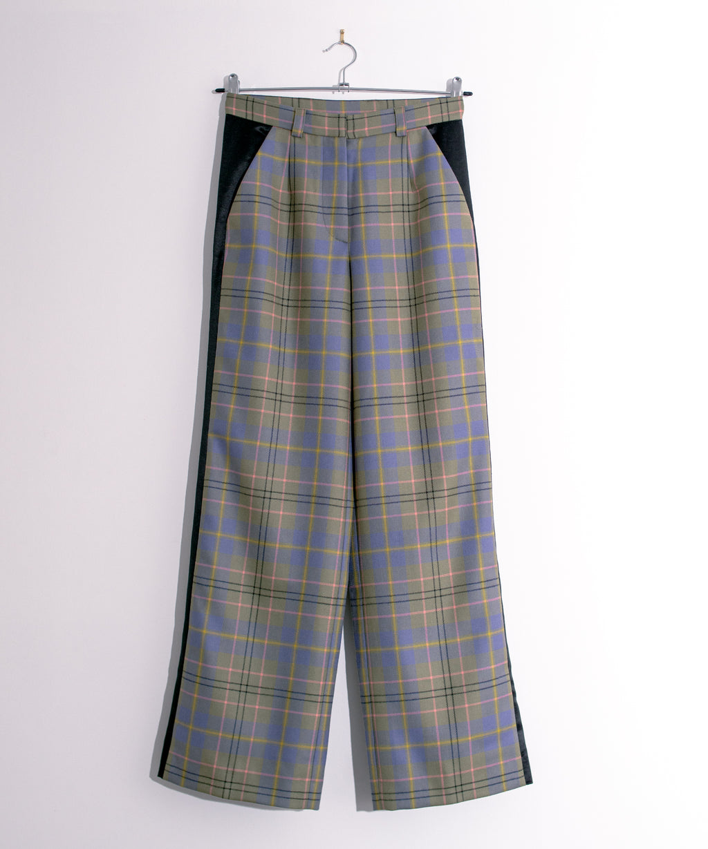 Plaid Trousers with Contrasting Black Side Panel