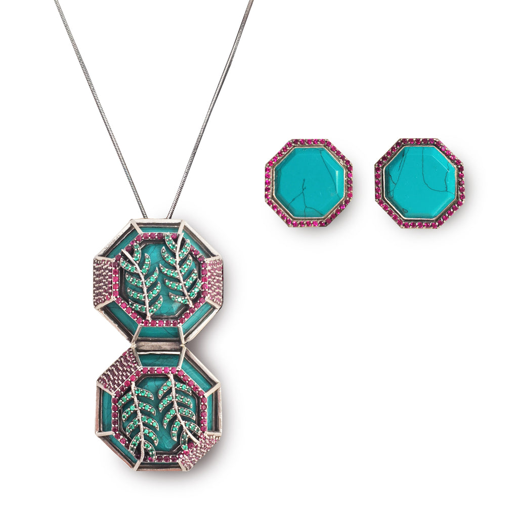4 piece transformation set: Turquoise with ruby and emerald