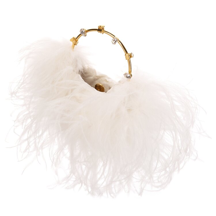 White Feather Clutch