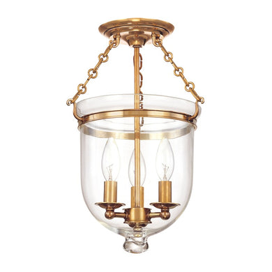 Brass ceiling mount lantern light