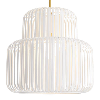 White bamboo pendant light