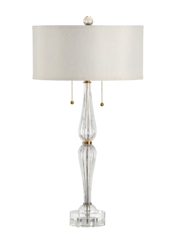 Crystal and brass lamp
