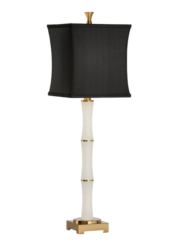 alabaster table lamp with black shade