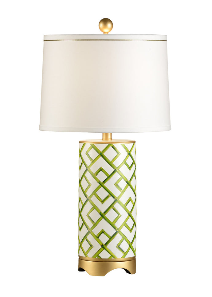 Hand Painted lamp with green and gold accents