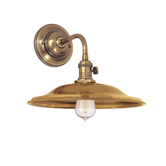 aged brass industrial style wall sconce