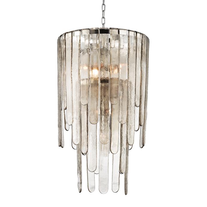 Glass Chandelier Light in Polished Nickel