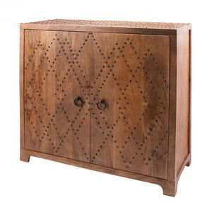 Plaid Nail Head Cabinet