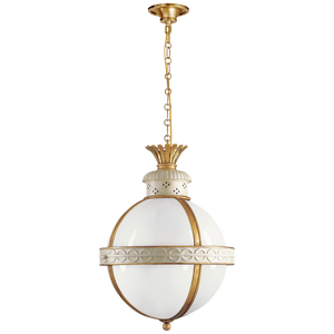 antique white lantern pendant light with brass and gold details