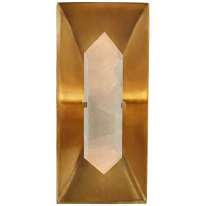Halcyon Rectangle Sconce in Antique-Burnished Brass and Quartz