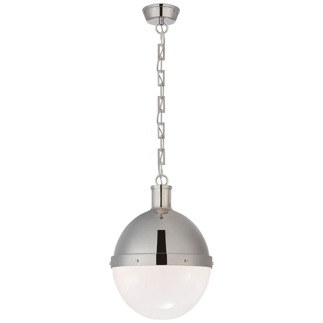 Industrial Rivet pendant light in polished nickel