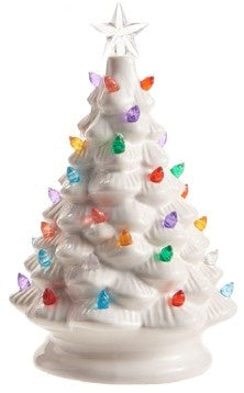 Vintage White Ceramic Light-up Christmas Tree