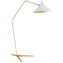 Load image into Gallery viewer, Mayotte Grande Arc Floor Lamp in Hand-Rubbed Antique Brass with White Shade