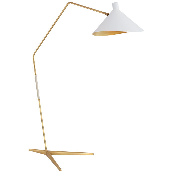 Mayotte Grande Arc Floor Lamp in Hand-Rubbed Antique Brass with White Shade