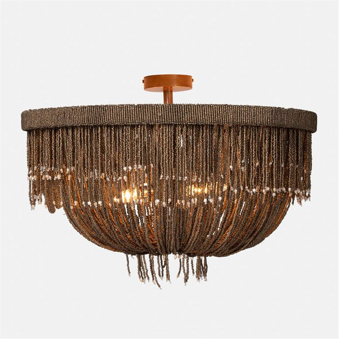 handcrafted beaded semi flush light