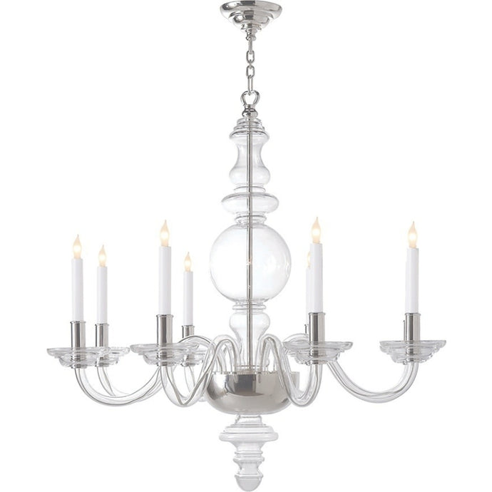 George II Crystal Large Chandelier in Crystal with Polished Nickel