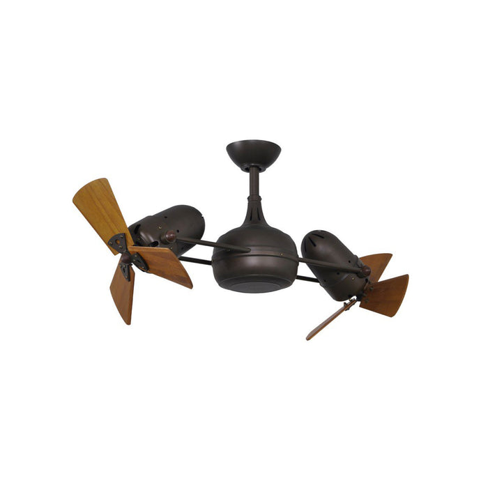 MATTHEWS FAN COMPANY DUEL HEADED Ceiling Fan.  Bronze with wood blades
