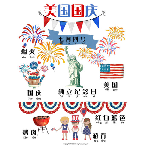 July 4th Poster Simplify Chinese 美国国庆海报