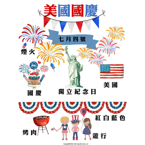 July 4th Poster Traditional Chinese  美國國慶海報
