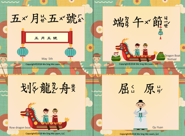 Dragon Boat Festival Flash Cards Traditional Chinese 端午節字卡