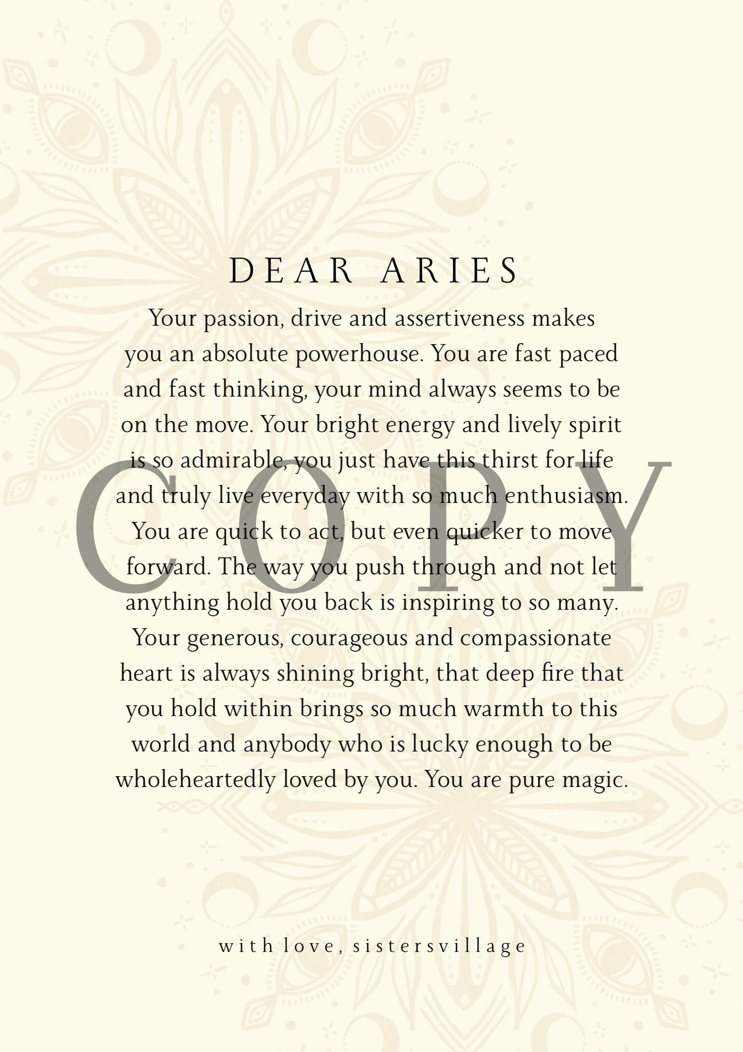 DEAR ARIES DIGITAL PRINT
