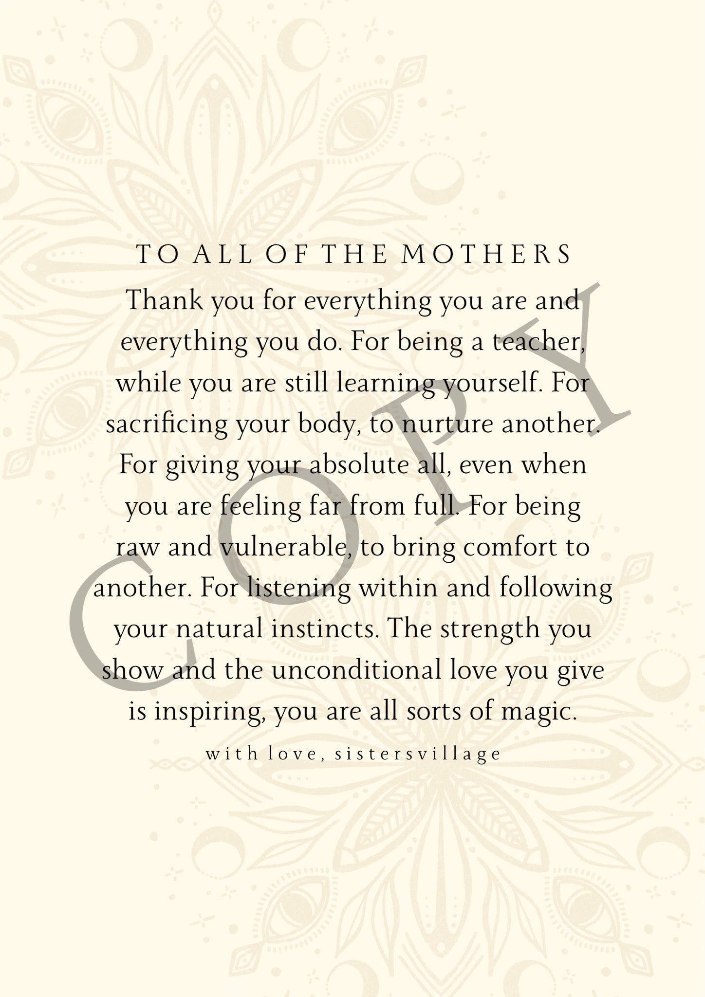 TO ALL OF THE MOTHERS DIGITAL PRINT