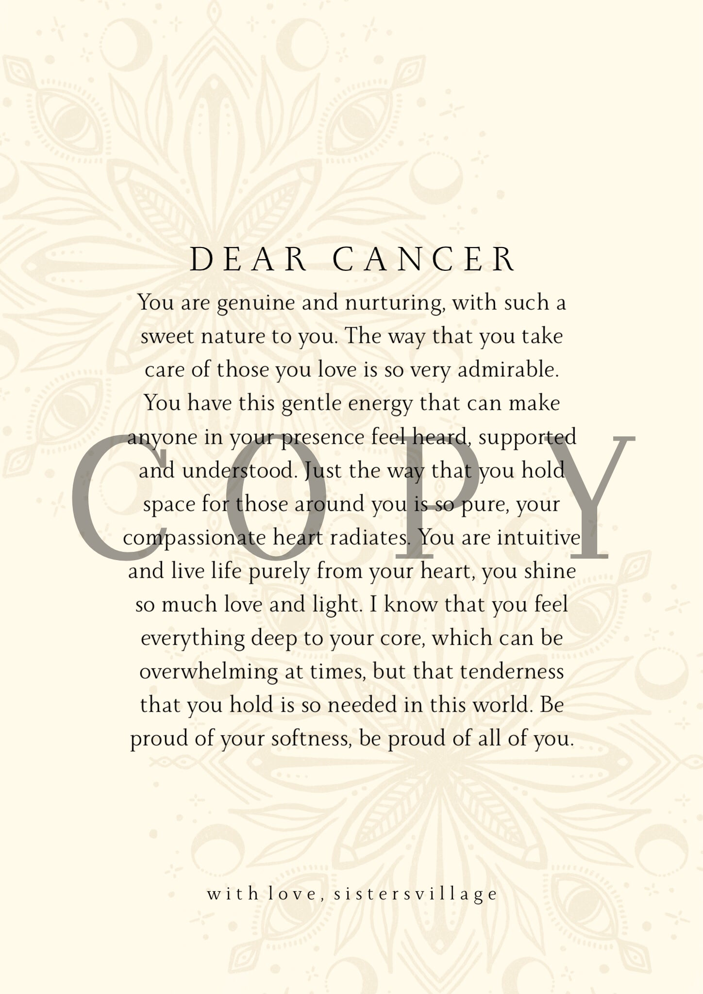DEAR CANCER DIGITAL PRINT