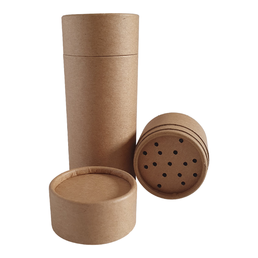 "Tube type ""shaker"" en carton Kraft brun"