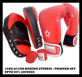 BOXING TRAINER SET- Straight Focus KICK GYM Pads 12oz 16oz Gloves Hand Wraps KIT