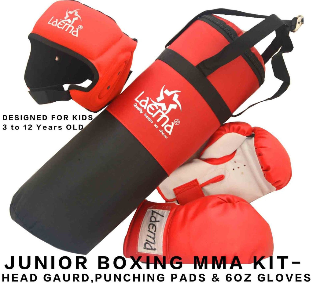 Junior Children Boxing Trainer Set-Kids Filled Punch Bag Head Guard Gloves Kick
