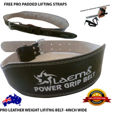 PRO POWER LEATHER WEIGHT LIFTING TRAINING BELT BODYBUILDING STRAPS SUPPORT 4""
