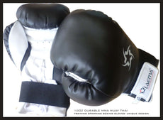 10OZ BLACK PROSTYLE TRAINING GYM MMA THAI KICK BOXING GLOVES + FREE Hand Wraps