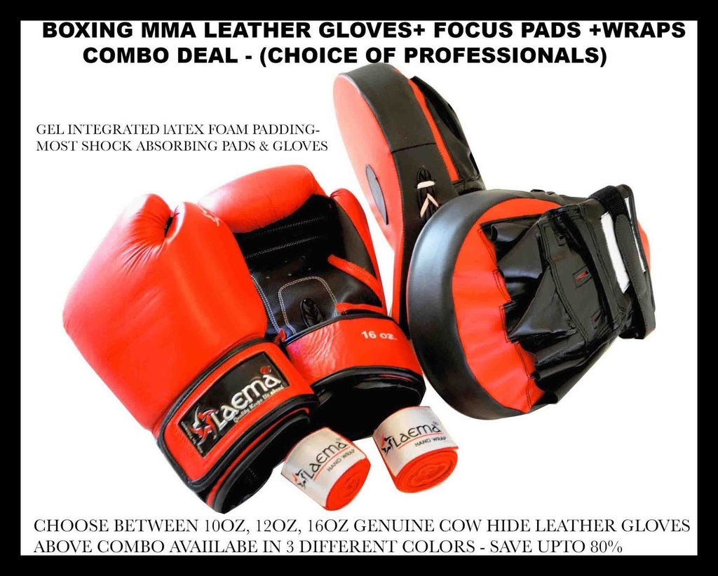 Genuine Leather Boxing Gloves Kick MMA Curved Focus Pads Wraps Combo-TRAINER SET