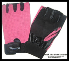 PINK LEATHER GYM WEIGHT LIFTING GLOVES- ITALIAN LYCRA- REDUCED TO CLEAR