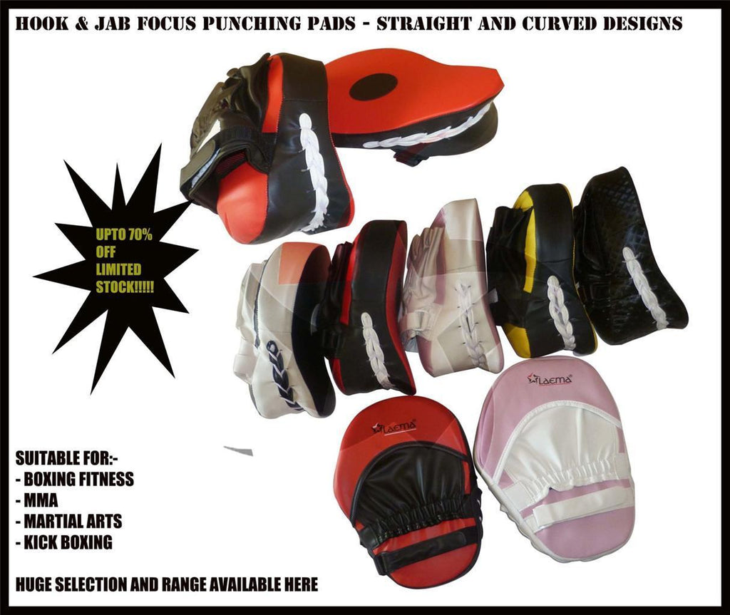 Hook and Jab Focus Pads Training Mitts Kick Boxing Punching MMA Sparring UFC Gym