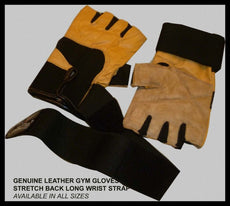 GENUINE LEATHER GYM WEIGHT LIFTING GLOVES-STRECH BACK - CLEARANCE